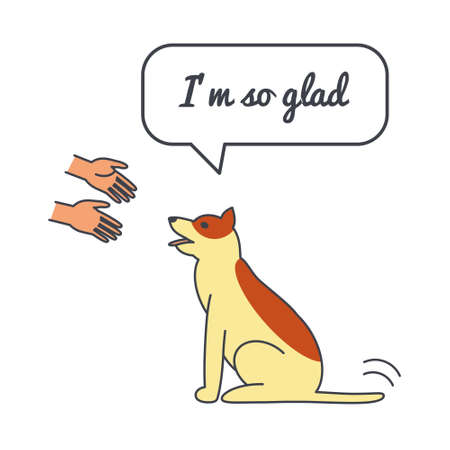 wagging: Happy friendly wagging dog with speech bubble and saying. Vector color line illustration card on white background. You can put your own text in the bubble. Dog adoption concept. Illustration