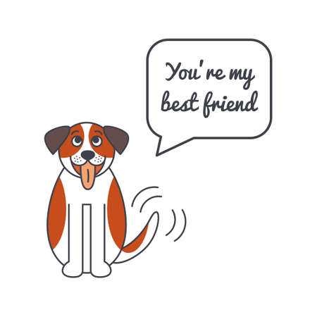 st bernard: Happy wagging St. Bernard dog with speech bubble and saying. Illustration