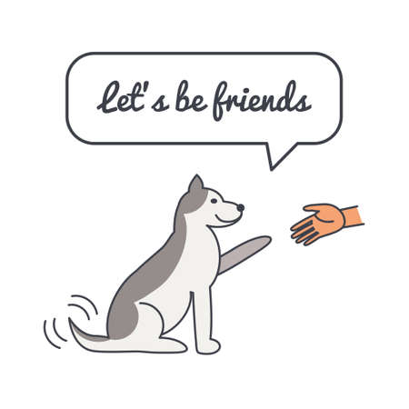 wagging: Happy friendly wagging dog gives paw with speech bubble and saying. Illustration