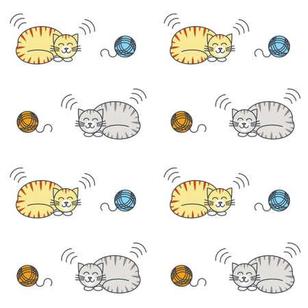 purring: Happy purring sleeping tabby cats with yarn balls.
