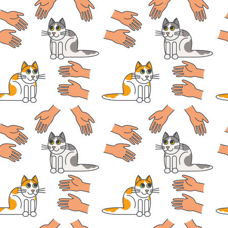 stretched: Many hands stretched to cats. Cat adoption concept.