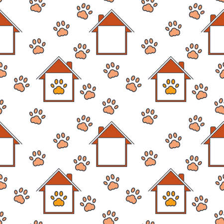 adoption: Homes with paw imprints around and inside. Pet adoption concept. Illustration