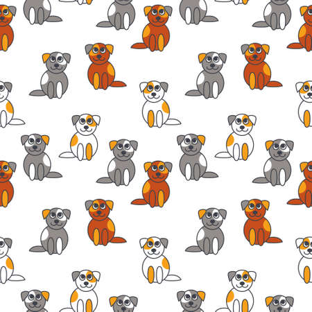 next to each other: Many cute gray white red little puppies sitting next to each other. line seamless pattern color on white background.