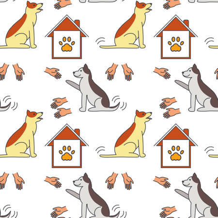 imprints: Many hands stretched to dogs. Dog adoption concept. line seamless pattern color on white background. Illustration