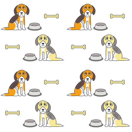 bony: Poor unhappy dogs sit near empty bowls. Hungry bony dogs. line seamless pattern color on white background.