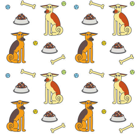 adult toys: Happy adult dogs sitting among the food, bones and toys. line seamless pattern color on white background.