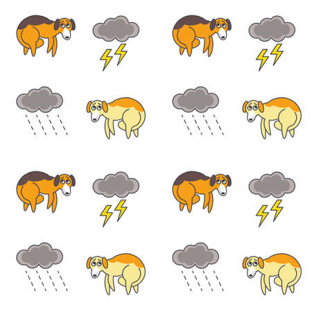 bad color: Poor homeless frightened dogs outside in bad weather. Red dogs with tucked tails. line seamless pattern color on white background.