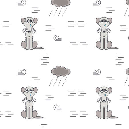 bad weather: Poor homeless dogs crying outside in bad weather. Gray bony unhappy dog. line seamless pattern color on white background.