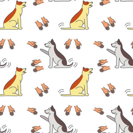 many hands: Many hands stretched to dogs. Dog adoption concept.  line seamless pattern color on white background.
