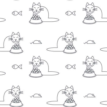 Happy eating cats around full bowls. line seamless pattern black on white background.