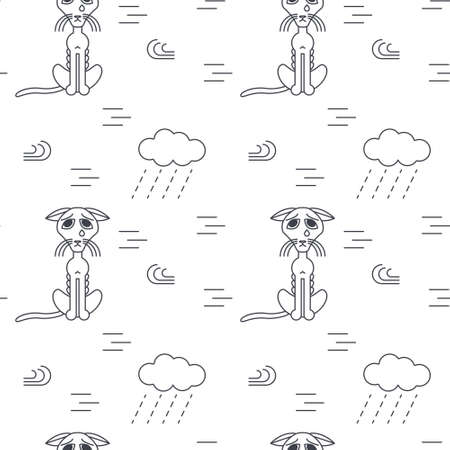 bad weather: Poor homeless lost cats crying outside in bad weather. Bony unhappy cat. line seamless pattern black on white background. Illustration