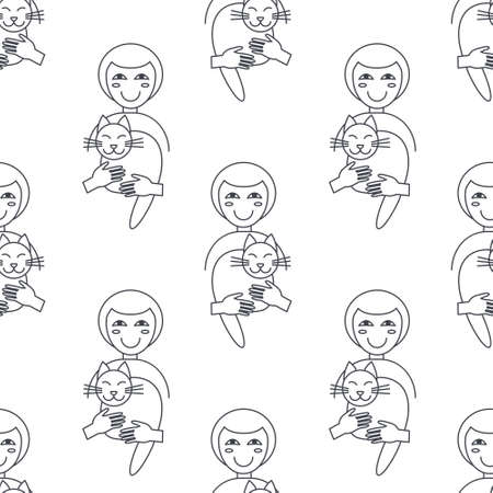 owner: Happy women cat owner hug their cats. Cat adoption concept. line seamless pattern black on white background.