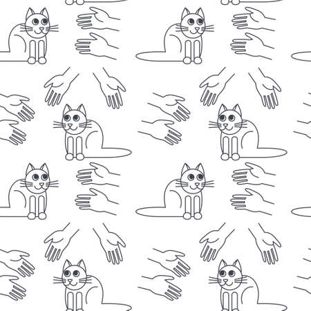 Many hands stretched to cats. Cat adoption concept. line seamless pattern black on white background.