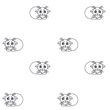pinned: Poor frightened kittens. Little kittens with pinned ears. line seamless pattern black on white background.