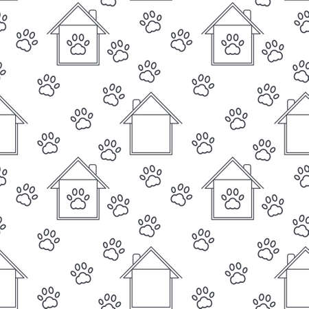 imprints: Homes with paw imprints around and inside. Pet adoption concept. line seamless pattern black on white background.