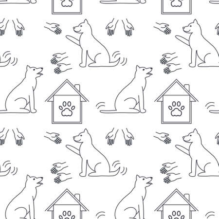 stretched: Many hands stretched to dogs. Dog adoption concept. line seamless pattern black on white background.