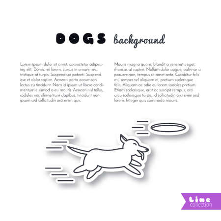 adoption: Happy playing dog running. Dog adoption concept. line sticker on white background. Page template for your design with space for text.