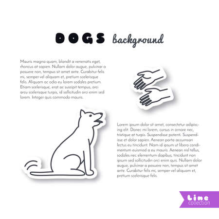 stretched: Hands stretched to the dog. Do not buy, adopt. Dog adoption concept. Good hands for dog. line sticker on white background. Page template for your design with space for text. Illustration