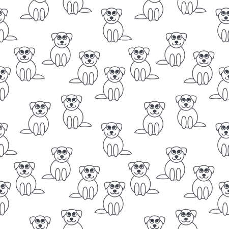next to each other: Many cute little puppies sitting next to each other.  line seamless pattern black on white background.