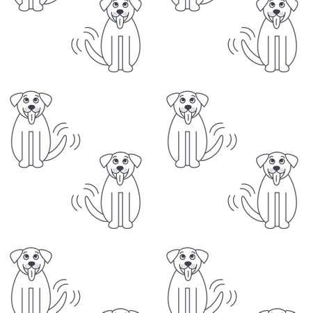 st  bernard: Happy big dog wags its tail. St. Bernard breed.  line seamless pattern black on white background.