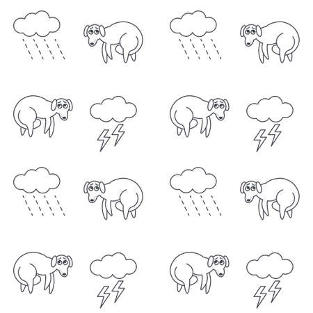 bad weather: Poor lost homeless frightened dogs outside in bad weather. Dogs with tucked tails. Dog with tail between legs. line seamless pattern black on white background.