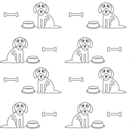 bony: Poor unhappy dogs sit near empty bowls. Hungry bony dogs. line seamless pattern black on white background.