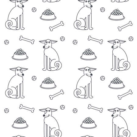 adult toys: Happy adult dogs sitting among the food, bones and toys. line seamless pattern black on white background. Illustration