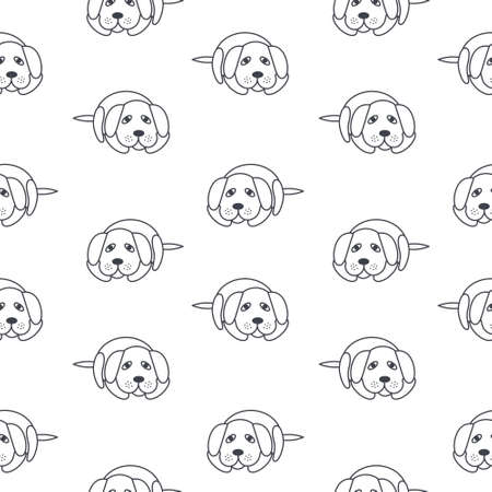 adoption: Bored lonely dogs wait its owners. Dog adoption concept.line seamless pattern black on white background. Illustration