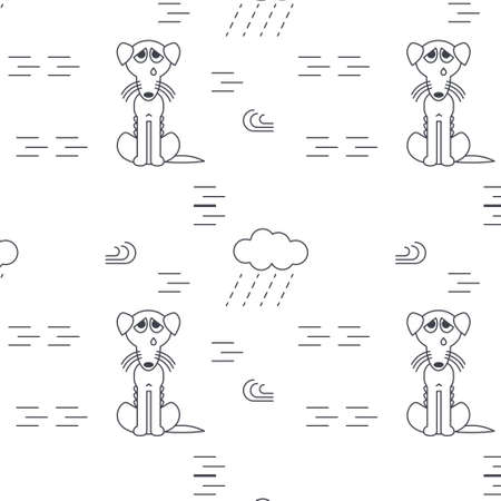 bony: Poor homeless lost dogs crying outside in bad weather. Bony unhappy dog. line seamless pattern black on white background.