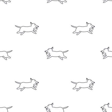 welsh: Happy running dogs. Welsh corgi breed. Dog adoption concept. line seamless pattern black on white background.