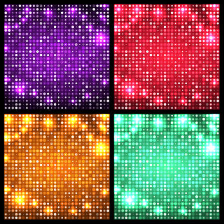 leaflets: Set of four sparkling vector backgrounds. Abstract bright disco mosaic with circles and light spots. Red, violet, golden, turquoise color for party posters, banners, leaflets, advertisement, wrapping