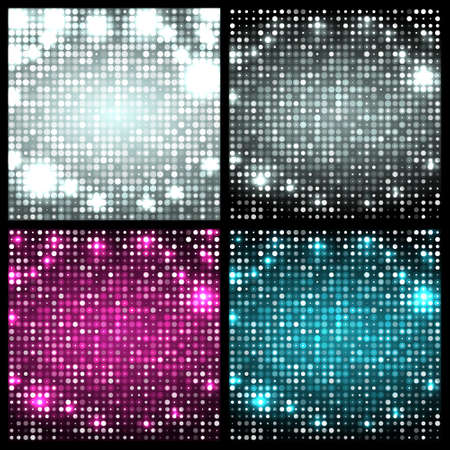 leaflets: Set of four sparkling vector backgrounds. Abstract bright disco mosaic with circles and light spots. Silver, black, pink, blue color for party posters, banners, leaflets, advertisement, wrapping