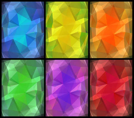 Precious gems vector six backgrounds set. Bright polygonal transparent design for your business presentations, flyers, posters, banners, web page, advertisement, wrapping, printed products