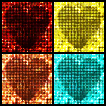 leaflets: Set of four sparkling vector backgrounds. Abstract bright heart shape with circles and light spots. Bright colors for decoration party posters, banners, leaflets, advertisement, wrapping, etc.