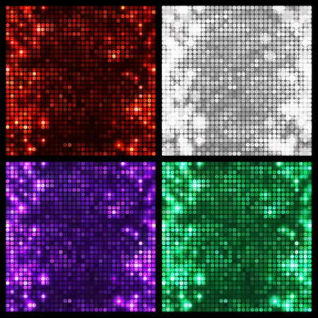 Set of four sparkling vector backgrounds. Abstract bright disco mosaic with circles and light spots. Bright colors for decoration party posters, banners, leaflets, advertisement, wrapping, etc.