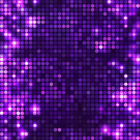 Violet vector mosaic with spots light. Bright sparkling base for your design. Abstract glitter background for decoration party, disco flyers, posters, banners, advertisement, wrapping, etc.
