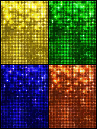 leaflets: Set of four sparkling vector backgrounds. Abstract bright disco mosaic with circles and light spots. Bright colors for decoration party posters, banners, leaflets, advertisement, wrapping, etc.