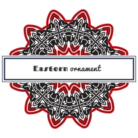 Vector design with circular ornament in eastern style. Ornate oriental element and rectangular place for text. Black, red, white color. Template for invitations, greeting cards, flyer pages, brochures. Illustration