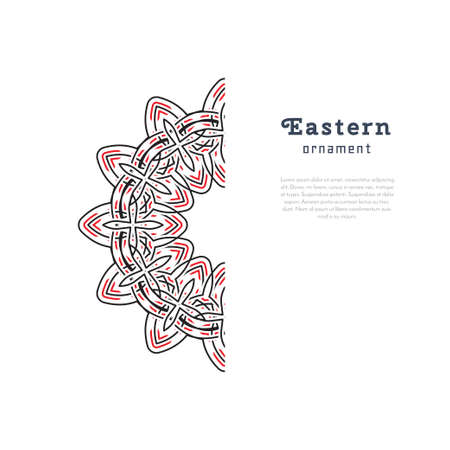 mehendi: Vector design with circular ornament in eastern style. Ornate oriental element and place for text. Black, red, white color. Template for invitations, greeting cards, flyer pages, brochures.