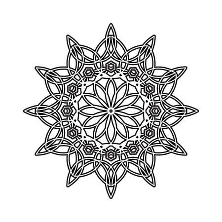 Vector circular ornament in eastern style. Ornate oriental element. Outline tracery for coloring book. Illustration