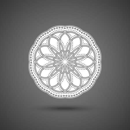 Paper lace doily, mandala, round crochet ornament, vector illustration. Ornate decorative flying snowflake on dark background.