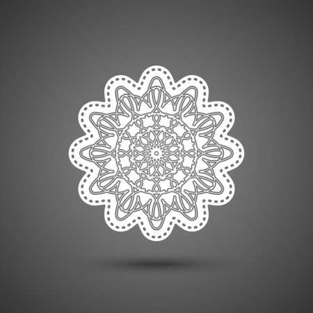 Paper lace doily, mandala, round crochet ornament, vector illustration. Ornate decorative flying snowflake on dark background.