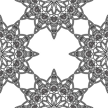 Page with circular mandala. Outline isolated vector illustration. Seamless pattern for adults antistress coloring book.