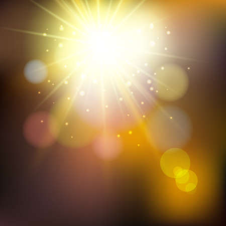 Abstract summer illustration with sun beams and defocused lights Illustration