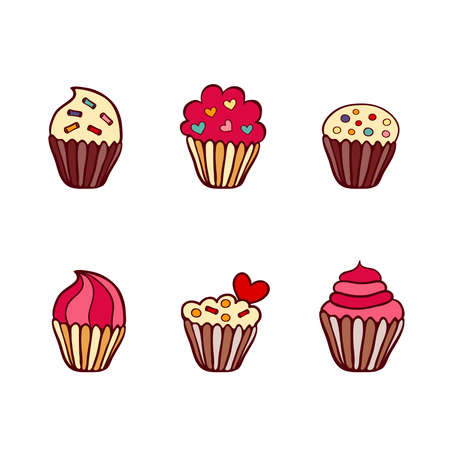 Colorful vector hand drawn doodle cartoon set of cupcakes