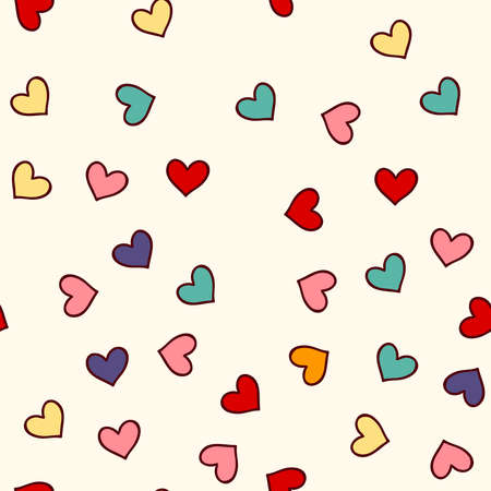 Cute seamless pattern with hand drawn hearts.