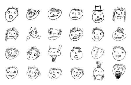 Hand drawn ugly funny stick figure faces. Different emotional characters. Vector outline illustration.