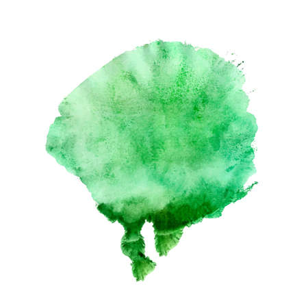 Abstract watercolor paint monotyped green spot. Vector illustration isolated on white background. Illustration