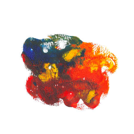 Abstract acrylic paint monotyped spot. Orange, red, yellow, blue bright colors. Vector illustration isolated on white background. Illustration