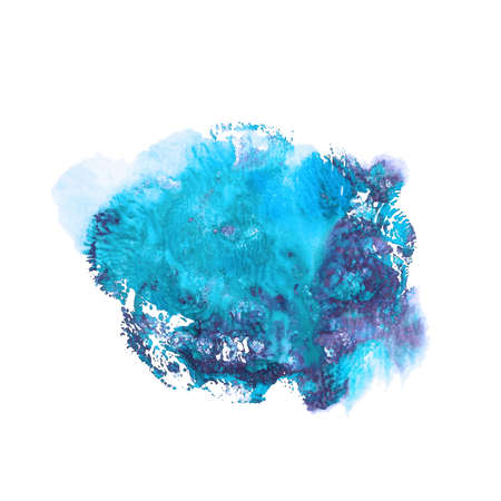 Abstract acrylic paint monotyped spot in blue and violet bright colors isolated on white background. Coral shaped imprint. Illustration